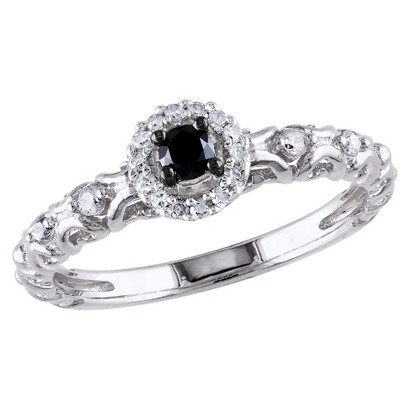 Tevolio 0.25 CT.T.W. Round Black Diamond and White Diamond Prong Ring in Sterling Silver (GH I2:I3)