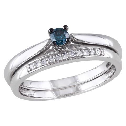 Tevolio 0.17 CT.T.W. Blue Diamond and White Diamond Prong Set Wedding Ring Set Sterling Silver (GH I2:I3)