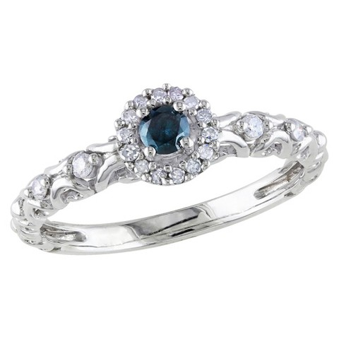 Tevolio 0.25 CT.T.W. Round Blue Diamond and White Diamond Prong Ring in Sterling Silver (GH I2:I3)