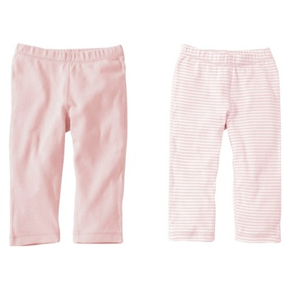 Burts Bees Baby™ Newborn Girls' 2 Pack Solid/Stripe Pants - Blossom