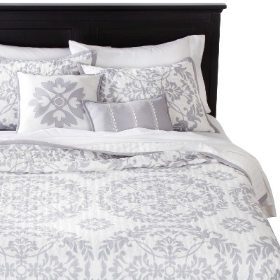 Medallion 5 Piece Quilt Set - Gray (Queen)