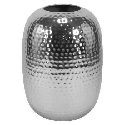 Large Circular Hammered Metal Vase