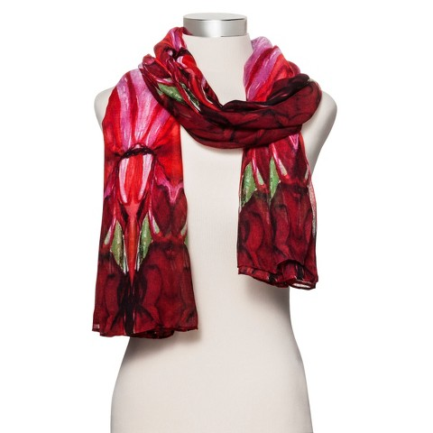 Oversized Printed Scarf - Red
