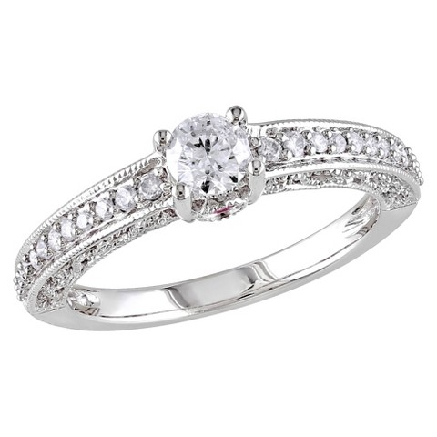 Tevolio 0.5 CT.T.W. Round Diamond and .06 CT.T.W. Pink Sapphire Pave Set Ring in 14K White Gold GH 12:13