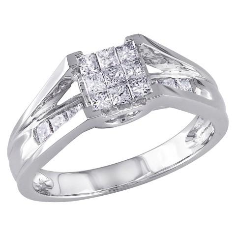 Tevolio 0.5 CT.T.W. Princess Cut Channel Set Diamond Ring in 10K White Gold GH I2:13