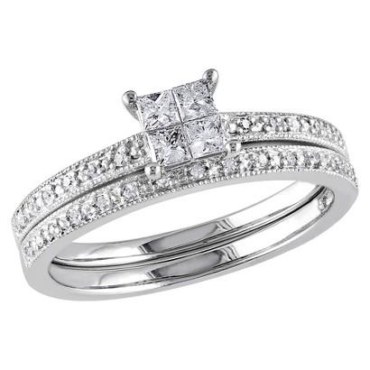 Tevolio 0.3 CT.T.W. Princess Cut Diamond Wedding Ring in 10K White Gold (GH I2:I3)