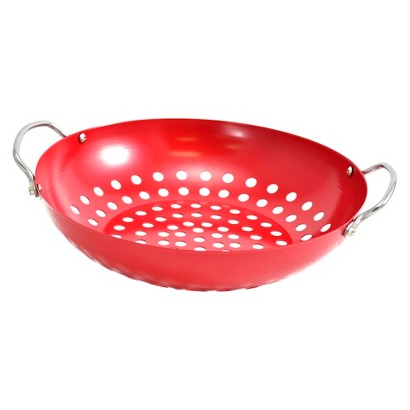 Charcoal Companion Red Nonstick Wok with Wire Handles