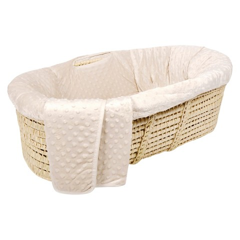 Tadpoles Dimple Velour Baby Moses Basket Set