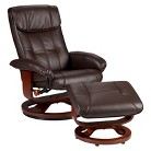 Southern Enterprises Bonded Leather Recliner & Ottoman - Brown