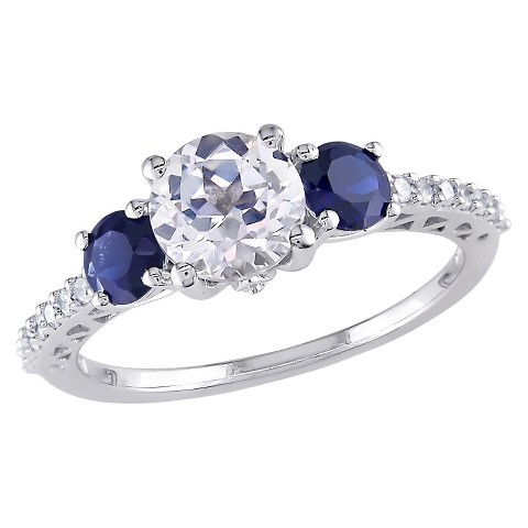 Tevolio 0.14 CT.T.W. Diamond and 2 CT.Created White and Blue Sapphire Ring in 10K White Gold (GH I2:I3)