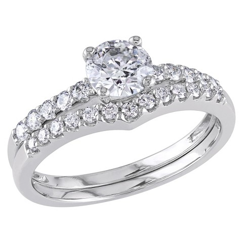 Tevolio 1.15 CT. T.W. Round Diamond Prong Set Wedding Ring Set in 14K White Gold (GH I2:I3)