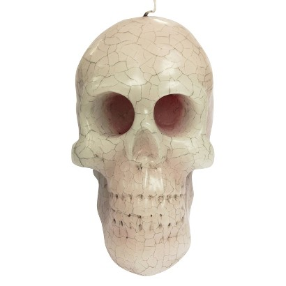 Image of Large Bleeding Skull Candle - White