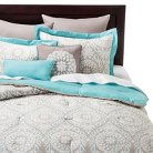 Valencia Medallion 8 Piece Comforter Set - Teal/Natural (Queen)