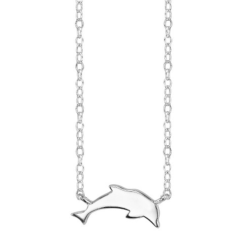 Sterling Silver Dolphin Station Necklace - Silver
