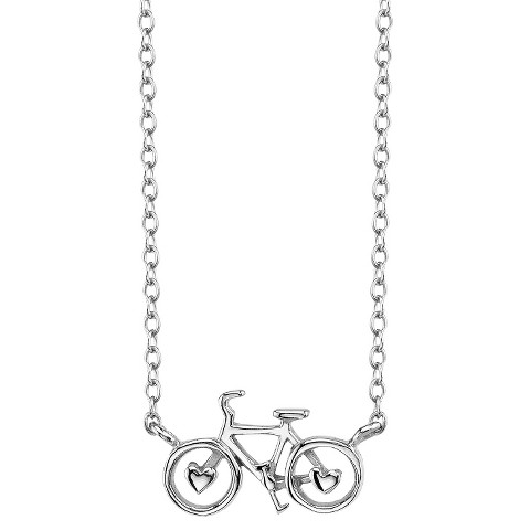 Sterling Silver Bicycle Station Necklace - Silver