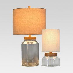 Washed Wood Box Lamp Base Large Includes Cfl Bulb