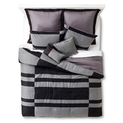 Beau 8 Piece Comforter Set -Grey/Black (King)
