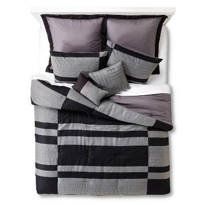Beau 8 Piece Comforter Set -Grey/Black (Queen)