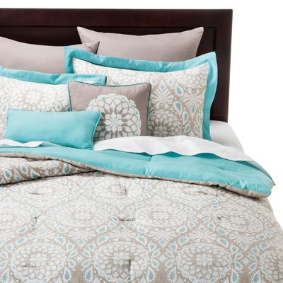 Valencia Medallion 8 Piece Comforter Set - Teal/Natural (California King)