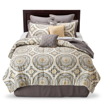 Venice 8 Piece Comforter Set - Gray/Yellow (Queen)