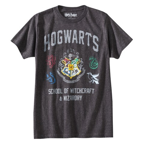 Men's Harry Potter Hogwarts T-Shirt Gray
