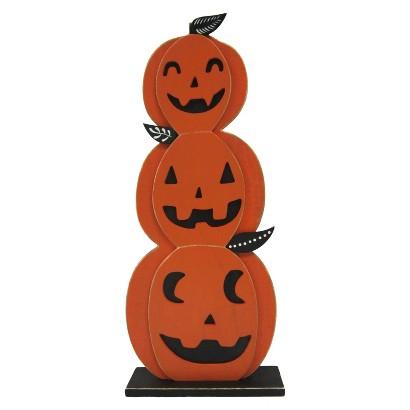 "Image of Halloween Triple Jack-O-Lantern Pumpkin Statue - 22.5"""