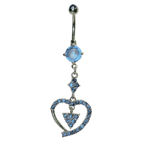 Women's Supreme Jewelry™ Curved Barbell Belly Ring with Stones - Silver/Blue