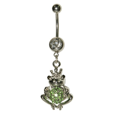 Women's Supreme Jewelry™ Curved Barbell Belly Ring with Stones - Silver/Green
