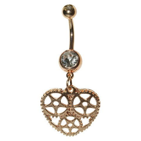 Women's Supreme Jewelry™ Curved Barbell Belly Ring with Stones - Gold/Clear