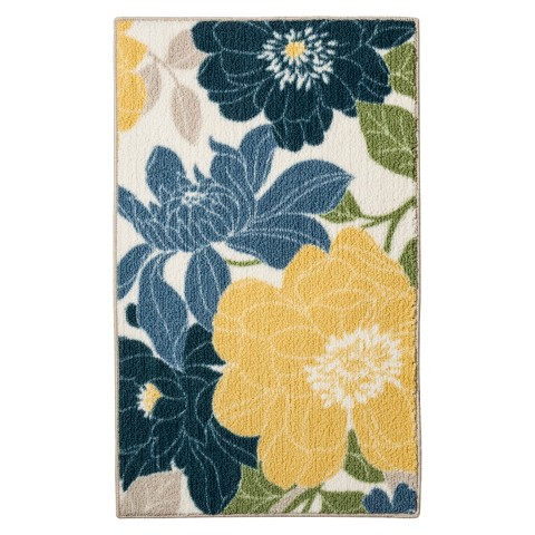 Threshold Spring Floral Kitchen Rug Blue Target