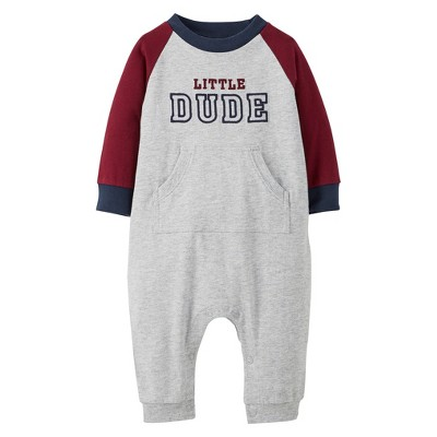 Just One You™Made by Carter's® Newborn Boys' Raglan Jumpsuit - Burgundy/Heather Grey 3 M