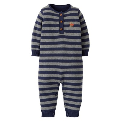 Just One You™Made by Carter's® Newborn Boys' Knit Striped Coverall - Black/Grey 6 M