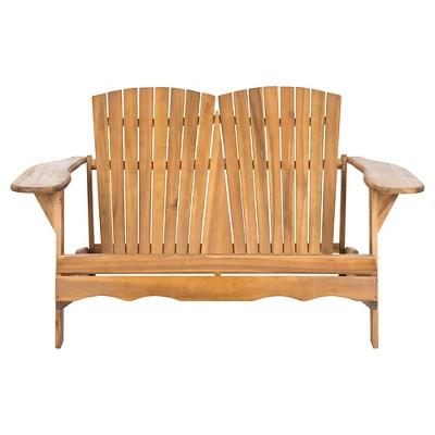 Safavieh Salinas Wood 3-Seater Patio Adirondack Bench - Brown