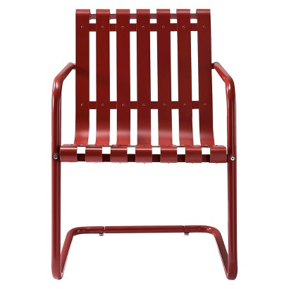 Patio Armchair: Gracie Metal Retro Patio Spring Chair: Red