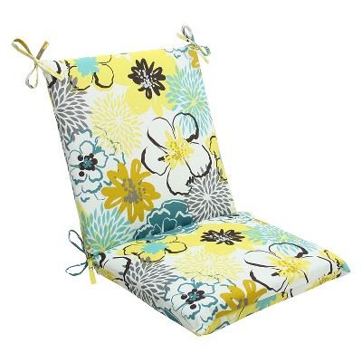 Ecom Outdoor One Piece Seat And Back Cushion PllwPf Polyester YLW PEACOC HOTFUD WHT