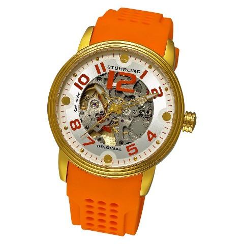 Stuhrling Original Men's Delphi Adonis Automatic Watch - Gold/Orange