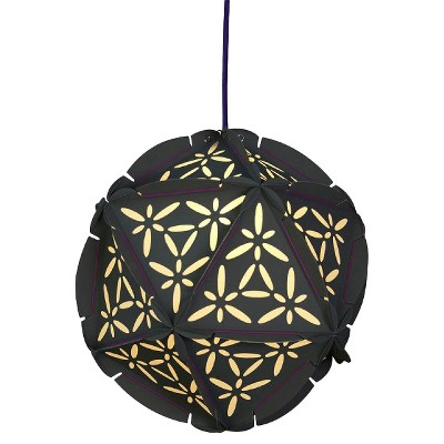 Como Plug-In Pendant Ceiling Lamp-Grey with Violet Cord