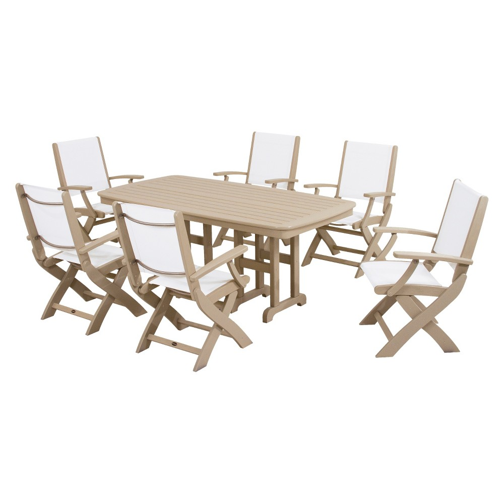 Patio dining set polywood coastal 7 piece sling dining furniture set - Must have pieces for your patio furniture ...