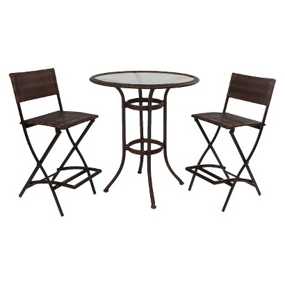 Hampton Wicker 3-Piece Patio Bar Height Bistro Furniture Set