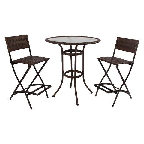 Hampton Wicker 3-Piece Patio Bar Height Bistro Furniture Set