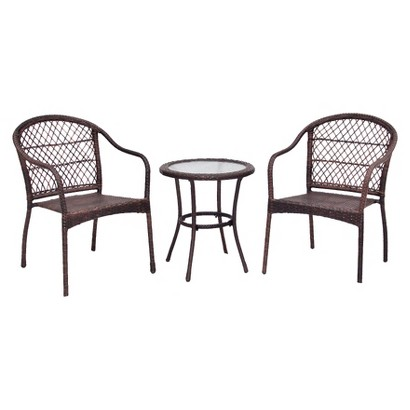 Roma Wicker 3 Piece Patio Bistro Furniture Set Tar