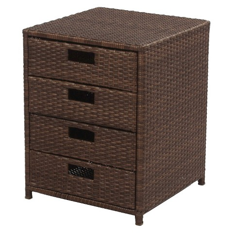 Wicker Patio Storage Table