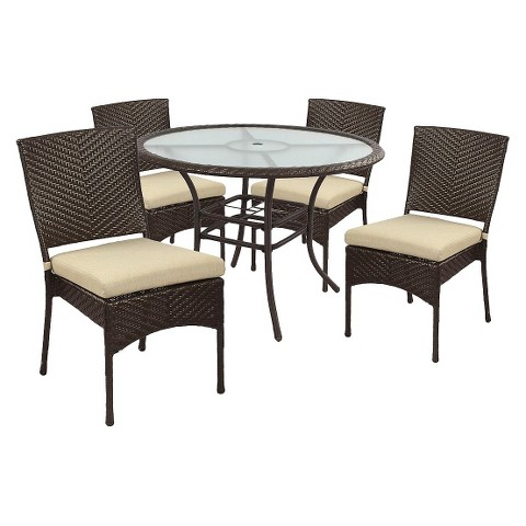 Hamilton Wicker 5-Piece Round Patio Dining Furniture Set