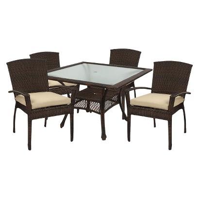 Monterey Wicker 5-Piece Square Patio Dining Furniture Set
