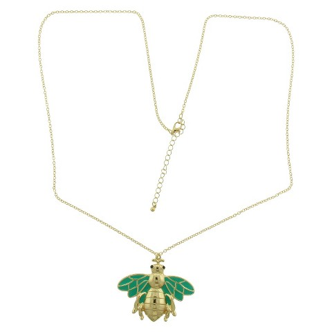 Women's Fashion Pendant Necklace - Gold/Green