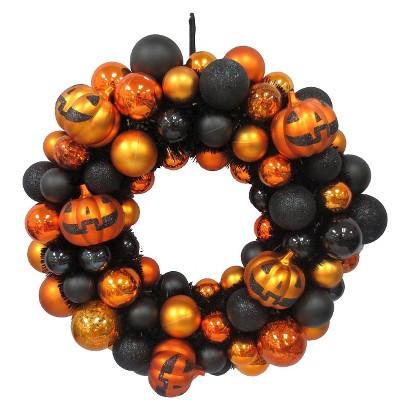 Image of Shatterproof Halloween Jack-O-Lantern Wreath