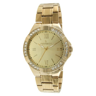 Men's Peugeot® Crystal Accent Bezel Bracelet Watch - Gold
