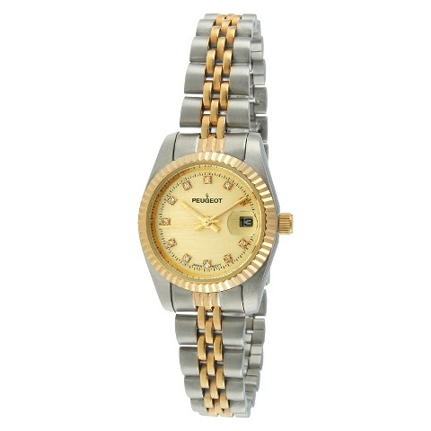 Women's Peugeot® Coin Bezel Crystal Marker Bracelet Watch - Gold/Silver