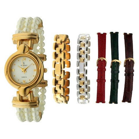 Women's Peugeot® Metal and Leather 6 Interchangeable Band Watch Set - Gold/Multicolor