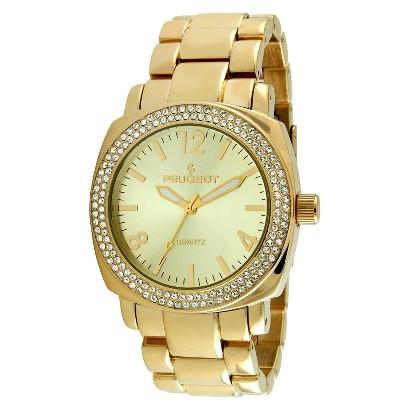 Women's Peugeot® Crystal Bezel Boyfriend Bracelet Watch - Gold